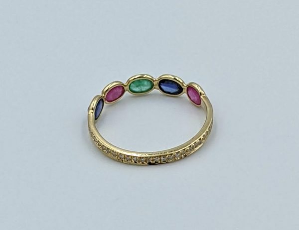 Emerald ruby blue sapphire and diamond micropave